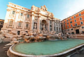 Low angle view of Trevi Fountain in Piazza di Trevi,Rome