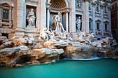 View of Trevi Fountain in Piazza di Trevi,Rome