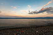 Scenic view of Lake Ohrid at dusk,North Macedonia