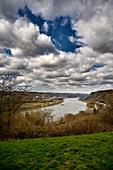 Clouds over the Rhine near Kasbach, Rhineland-Palatinate, Germany