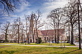 Catholic church square in Erlangen, Middle Franconia, Bavaria, Germany
