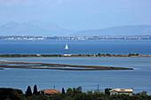 Lagoon in front of the capital Lefkada, Lefkada Island, Ionian Islands, Greece