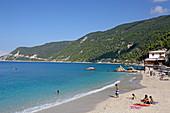 Agios Nikitas is a small seaside resort on the west coast of the island of Lefkada, Ionian Islands, Greece