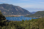 Vlicho Bay in front of Nydri with moored sailing boats, Lefkada Island, Ionian Islands, Greece