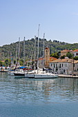 Boats in the port of Vathy, Meganisi, Ionian Islands, Greece, Europe