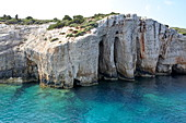 Rock formations at Cape Skinari in the north of Zakynthos Island, Ionian Islands, Greece