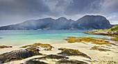 Lundoya from Skutvik, sandy beach, Ofoten, Nordland, Norway