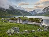 Traditional huts at Nystolsvatnet, Gaularfjellet, Vestland, Norway