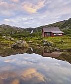 Lonely hut in Gaularfjellet, Vestland, Norway