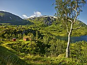 Hut at Holmevatnet, Storefjellet, Gaularfjellet, Vestland, Norway