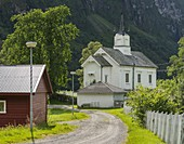 Small church in Holsen, Vestland, Norway