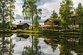 Historic buildings in the Maihaugen Open Air Museum, Lillehammer, Innlandet, Norway