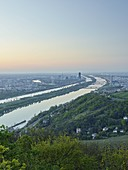 View from Kahlenberg over Vienna, Donaucity, Danube Island, sunrise, Austria