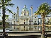 Karlskirche, palm trees, Karlsplatz, 4th District Wieden, Vienna, Austria