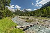 Wooden bridge over the Rissbach, Risstal, Karwendel, Tyrol, Austria