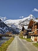 old wooden houses, Großvenediger Group, Innergschlöß, East Tyrol, Tyrol, Austria
