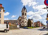 Kath. Kirche St. Stefan und Pfarramt in Sonneberg, Thüringen, Deutschland
