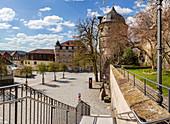Marienplatz with rose tower in Kronach, Bavaria, Germany