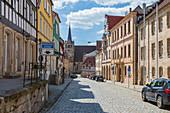 District Court Street in Kronach, Bavaria, Germany