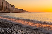 France, Somme, Picardy Coast, Ault, twilight at the foot of the cliffs that stretch towards Le Tréport and Normandy