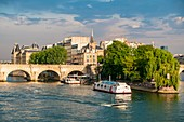 France, Paris, area listed as World Heritage by UNESCO, the banks of the Seine, the Ile de la Cite and a fly boat