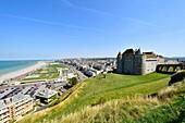France, Seine Maritime, Pays de Caux, Cote d'Albatre (Alabaster Coast), Dieppe, castle museum dominated the seafront promenade along the boulevard de Verdun and the large pebble beach