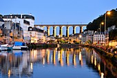 France, Finistere, Morlaix, The Harbour and the viaduct
