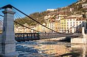 France, Isere, Grenoble, banks of Isere river, Saint Laurent district, Saint Laurent footbridge built in