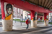 France, Isere, Grenoble, Cours Jean Jaures, fresco The Soul Sisters by the Grenoble artist Besss