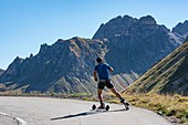 France, Savoie, Valloire, massif des Cerces, cycling ascension of the Col du Galibier, one of the routes of the largest bike domain in the world, ascent ski roulette to the hamlet of Granges and the grand Galibier