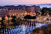 France, Alpes Maritimes, Nice, Promenade du Paillon, Place Massena, the mirror of water, the Mediterranean sea in the background