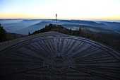 France, Bas Rhin, orientation table at the top of Donon, The temple of Donon is at 1,009 meters above sea level, It was erected at the top in 1869, It is the work of the architect Louis Michel Boltz