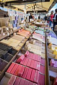 France, Alpes Maritimes, Nice, Old Nice district, Cours Saleya market, scented soap stall