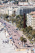 France, Alpes Maritimes, Nice, the Baie des Anges and the Promenade des Anglais, Nine Oblique Lines, Bernar Venet's steel sculpture represent the 9 hills of the County of Nice on the esplanade Georges Pompidou
