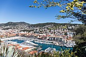 France, Alpes Maritimes, Nice, the old port or port Lympia from the Colline du Château