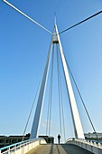 France, Seine Maritime, Le Havre, city rebuilt by Auguste Perret listed as World Heritage by UNESCO, Footbridge of the Bassin du Commerce by Guillaume Gillet (1969)