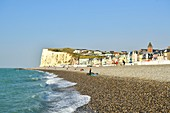 France, Somme, Mers-les-Bains, searesort on the shores of the Channel, the beach and its 300 beach cabins, the chalk cliffs in the background