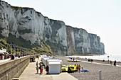 France, Seine Maritime, Le Treport, cliffs overlooking the pebble beach