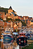 France, Seine Maritime, Le Treport, the fishing harbour and Saint Jacques church