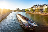 France, Paris, area listed as World heritage by UNESCO, Ile de la Cite, Notre Dame Cathedral and a fly boat at sunset