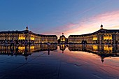 France, Gironde, Bordeaux, area listed as World Heritage by UNESCO, Saint Pierre district, Place de la Bourse, the reflecting pool from 2006 and directed by Jean-Max Llorca hydrant