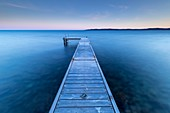 France, Var, Sainte-Maxime, pointe des Sardinaux, wooden pontoon