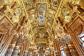 France, Paris, Garnier opera house (1878) under the architect Charles Garnier in eclectic style, the Grand Foyer