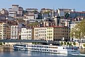 France, Rhone, Lyon, historic district listed as a UNESCO World Heritage site, Quai Saint-Vincent, bridge of la Feuillee over the Saone river and Notre-Dame-Saint-Vincent church