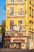 France, Rhone, Lyon, historic district listed as a UNESCO World Heritage site, La Presqu'île, Martiniere street, Fresque des Lyonnais by Cite de la Creation