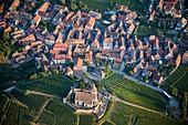 France, Haut Rhin, the Alsace Wine Route, Hunawihr, village labelled Les Plus Beaux Villages de France (The Most Beautiful Villages of France), fortified church (aerial view)
