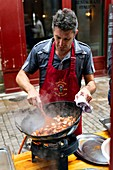 France, Pyrenees Atlantiques, Basque Country, Bayonne, pintxo eguna, in May, the Peñas bayonnaises open their doors to the public for a contest of the best pintxos whose profits go to charity
