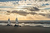 France, Somme (80), Marquenterre, Quend-Plage, The large sandy beaches of the windswept coast of Picardy are an ideal place for the practice of the sail-hauler, at sunset