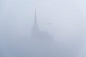 France, Manche, Mont Saint Michel Bay listed as World Heritage by UNESCO, Abbey of Mont Saint Michel, fog
