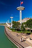 France, Rhône, Lyon, La Guillotiere district, Karen Blixen riverbank on the Rhone, Tony Bertrand Nautical Center, Incity tower and Mutualite palace